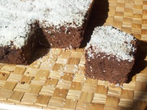 Snow-Speckled Chocolate Date Cake
